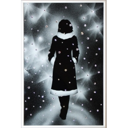 Девушка под снегом, 20х30 см, 121 кристалл