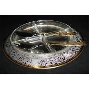 Хрустальная менажница на металлическом подносе с ложкой и вилкой «Dubai Gold»