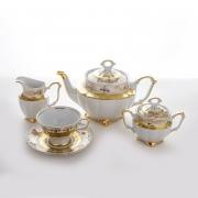 Сервиз чайный на 6пер. 15пред. «Лист белый Золото»