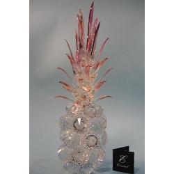 Ананас средний прозрачный, розовый лист d 40 11х37 см