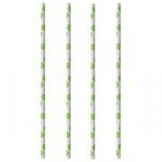 Трубочки [100шт] D=0.6, L=20см; белый, зелен.