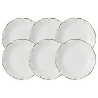 Набор из 6 суповых тарелок Белый с золотом