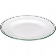 Тарелка мелкая «Лагуна» D=16.5, H=2см; белый, зелен.