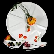 Блюдо для сервировки 5 секций на подносе 42,5см «Красный мак»