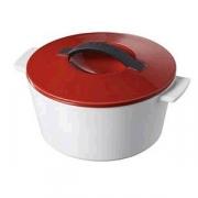 Кастрюля для запекания с крышкой, керамика, 1.5л, D=19,H=12.5см, белый,красный