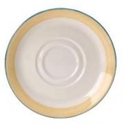 Блюдце «Рио Еллоу», фарфор, D=11.8см, белый,желт.