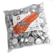 Свечи «Таблетки» [100шт], воск,алюмин., D=4,H=4,L=30,B=30см, белый