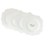 Набор из 4-х десертных тарелок Белое кружево