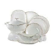 Блюдо овальное 23 см «Белый с золотом»