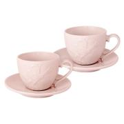 Набор: 2 чашки + 2 блюдца Птицы (розовая)