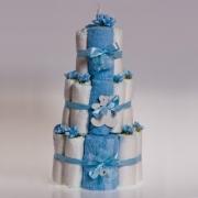Набор для новорожденных «Торт» (полотенца+подгузники) синие