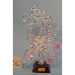Бонсай с хризантемами розовый 24см