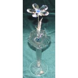 Хрустальный цветок на металлическом стебле (синий) 31 см