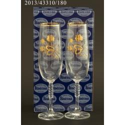 Подарочный набор из 2-х бокалов для шампанского Карина, выполнен в технике панто рисунок розы с кольцами+ золото