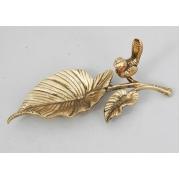 Пепельница «Птичка на листочке«золотой 7х19см