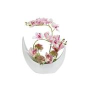 Декоративные цветы Орхидея розовая в керамической вазе