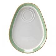 Блюдо фуршетное «Рио Грин»; фарфор; D=25.5см; белый,зелен.