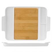 Блюдо для стейка/сыра, бамбук,фарфор, H=32,L=295,B=120мм