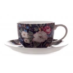 Чашка с блюдцем Полночные цветы в подарочной упаковке