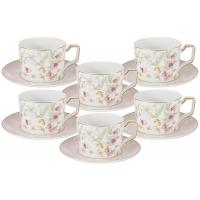 Набор 12 предметов Цветы: 6 чашек + 6 блюдец