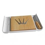 Набор для сыра 7 предметов «Ачайо», фарфор,дерево, H=2,L=30,B=22см, белый,св. дерево