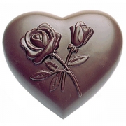 Форма для шоколада «Сердце с цветами» [4шт], поликарбонат, L=10,B=10см