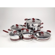 Набор посуды «EX Pot» (нерж.сталь) 6пр.(4 вида кастрюль, ковшик, дуршлаг-вставка)