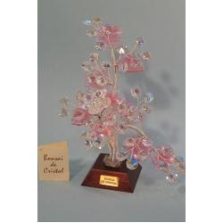 Бонсай с хризантемой розовый 24см