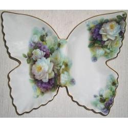Блюдо-бабочка «Белые розы и сирень»