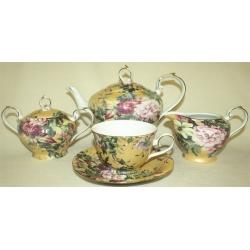 Чайный сервиз «Цветы на золоте» на 6 персон 15 предметов