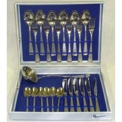 Набор из 64 предметов на 12 персон, матовый с золотом «Джемини Сатинато Голд»