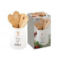 Банка-подставка с кух.инструментами (5 инстр.из бамбука) Kitchen Elements в подарочной упаковке