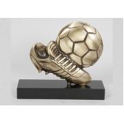Мяч и бутса на подставке каштан 13х14 см.