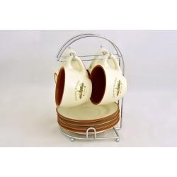 Чайный набор: 4 чашки (0.2 л), 4 блюдца на металлической подставке «Олива»