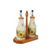 Набор из 2-х бутылок для масла и уксуса на подставке Подсолнухи Италии