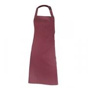 Фартук с грудкой и карманом, в полоску, полиэстер,хлопок, L=93,B=72см, бордо,белый