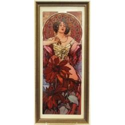 Картина «Рубин» 16х38 см, фарфор, серия Mucha. Подарочная упаковка