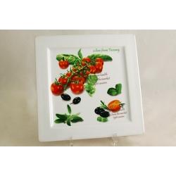 Блюдо квадратное «Помидоры и оливки» 24х24 см