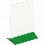 Подставка наст. для меню А5 H=22, L=15.5, B=9.5см; прозр. , зелен.