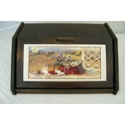 Деревянная хлебница с керамическими вставками «Гармония»
