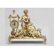 Часы «Дама с арфой» на мраморе золотистый 44х50 см.