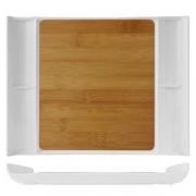 Блюдо для стейка/сыра, бамбук,фарфор, H=25,L=320,B=230мм