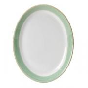 Блюдо овальное «Рио Грин»; фарфор; L=28см; белый,зелен.