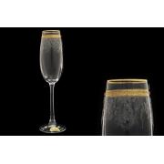 Бокал для шампанского Золотая полоса+ втертая платина