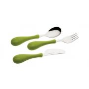 Набор 3пр.: ложка, вилка, нож «Рыбка» зеленый