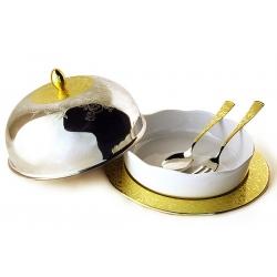 Круглое блюдо для горячего с крышкой с фарфоровой вставкой с ложкой и вилкой «Dubai Gold»