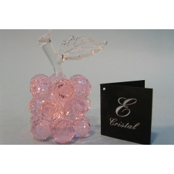 Яблоко мини розовое, прозрачный лист d 20 6х8 см