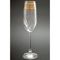 Бокал для шампанского 180 мл «Эсприт» оптика декор панто сочетание втертого золота и золотых полос через часть декора + золотая кайма по краю рюмки