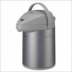 Японский термос «Silver» 2,2 литра с помпой со стеклянной колбой, цвет: серебро