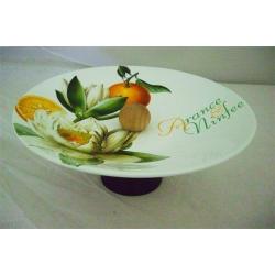 Ваза для фруктов на ножке «Апельсины и кувшинки»